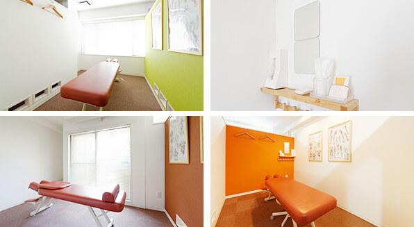 プライバシーの守られたゆったりとした治療室の写真
